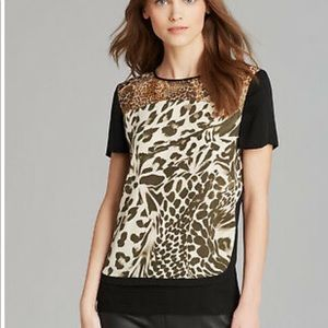 Diane Von Furstenberg Animal print Becky Silk Top